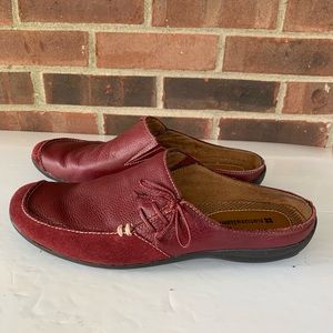 Naturalizer red leather slip on mules